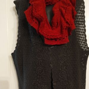 Black Crochet Vest with Rose Designs